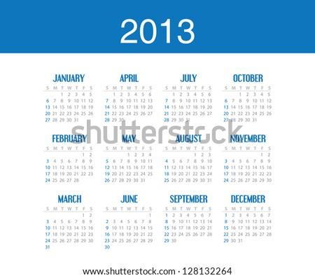 Simple calendar design for 2013. Editable vector in portfolio. - stock photo