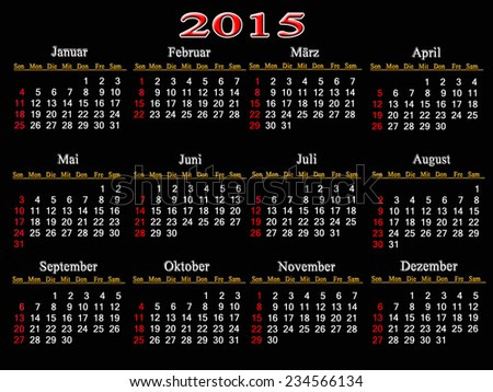 simple calendar for 2015 year on the black background - stock photo