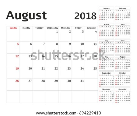 Simple Calendar Planner 2018 Year Calendar Stock Illustration