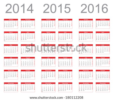 Simple Calendar year 2014, 2015, 2016 - stock photo