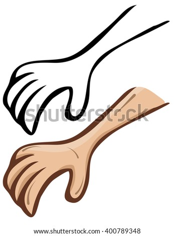 Simple cartoon hand. A set of contour and painted - stock photo
