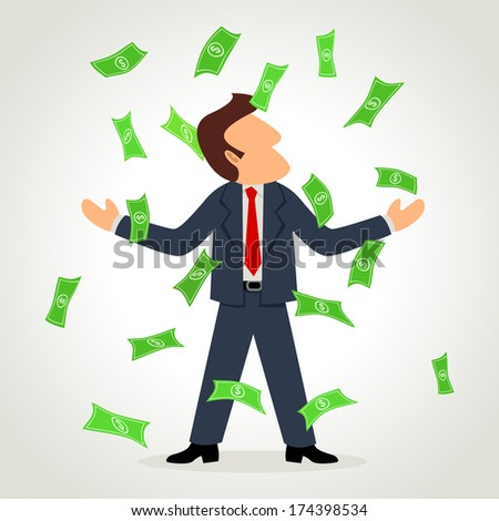 Simple cartoon of a businessman rained for money