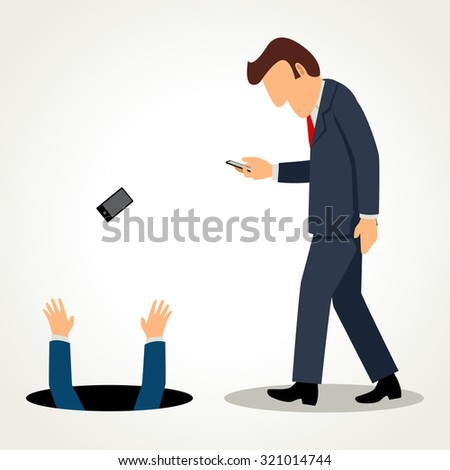 Simple cartoon of a businessman walking and busy with his gadget - stock photo