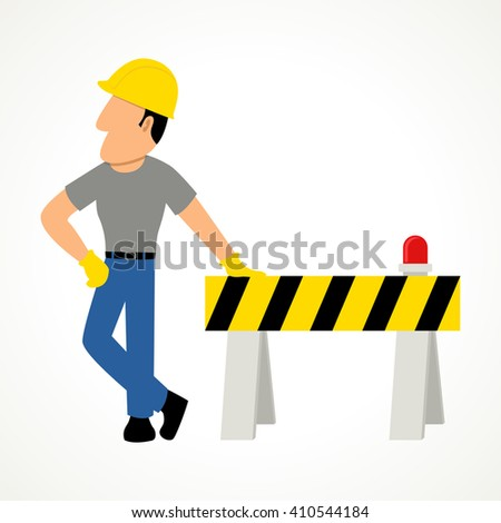 Simple cartoon of a construction worker with roadblock, raster version