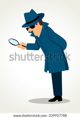 Simple cartoon of a detective holding a magnifying glass - stock photo
