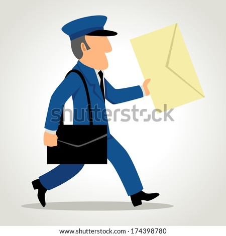 Simple cartoon of a postman delivering mail - stock photo