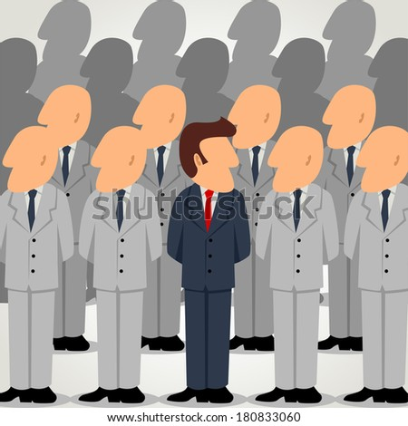 Simple cartoon of an outstanding businessman among ordinary businessman - stock photo