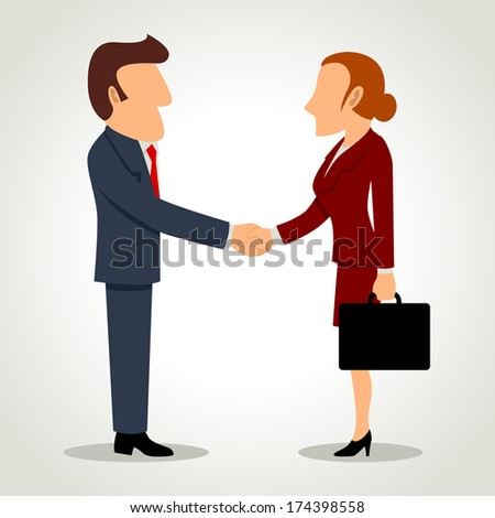 Simple cartoon of businessman and businesswoman shaking hands