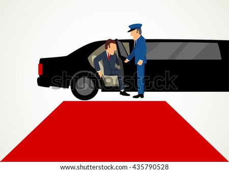 Simple cartoon of businessman getting out from limousine in front of the red carpet, business, success, vip concept, raster version - stock photo