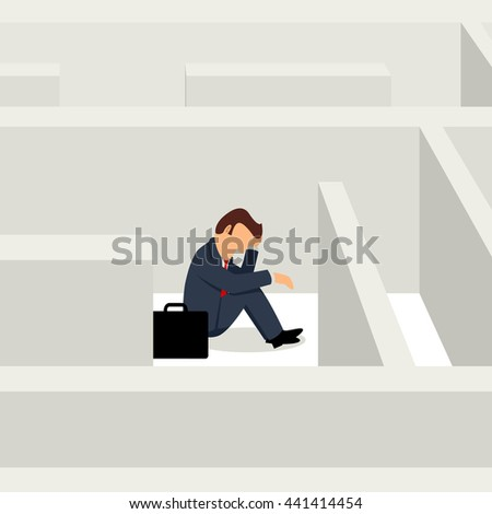 Simple cartoon of businessman sitting frustratedly in the maze, business, confuse, stress concept, raster version - stock photo