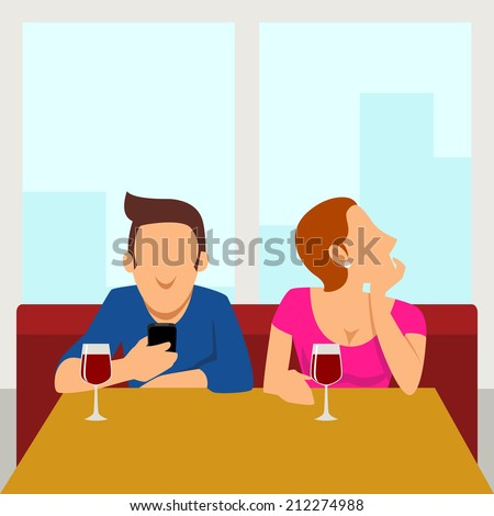 Simple cartoon of couple having a date, the male figure busy with his smart phone, the female figure got bored - stock photo