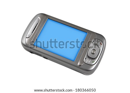 Simple cell phone one white background - stock photo