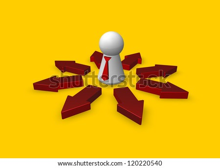 simple character with tie and arrows - 3d illustration - stock photo