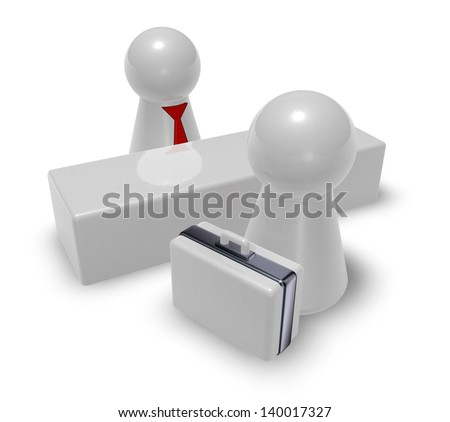 simple characters and case on ticket office - 3d illustration