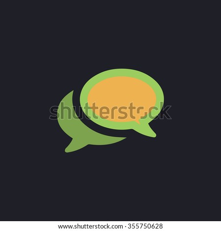 Simple Chat or Dialogue. Color flat icon on black background