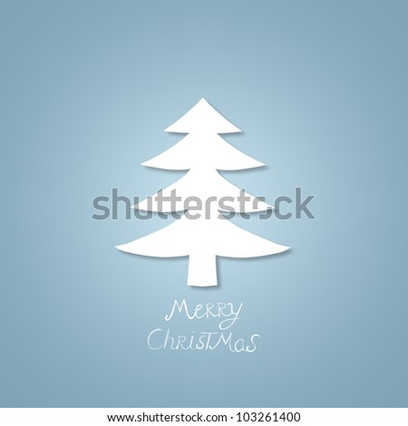 Simple christmas tree on blue background - stock photo
