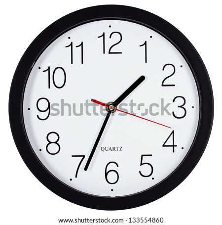Simple classic black and white round wall clock isolated on white - stock photo