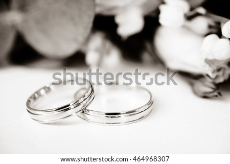 simple closeup shot of two wedding rings on white background