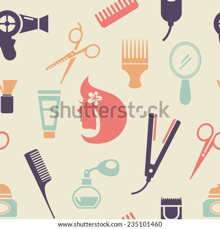 Simple Colored Barbershop Pattern Graphic Design in Flat Style on Very Light Brown Background. - stock photo