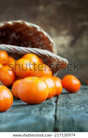 Simple Composition with Basket and Tangerines on Wooden Background. Russian tradition to eat this fruits at New Year - stock photo