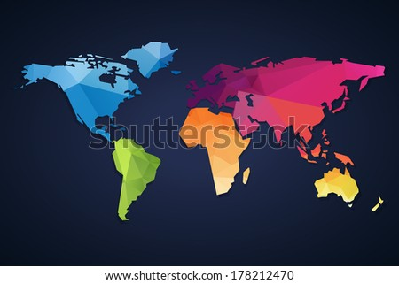 Simple continental world map modern triangle stock illustration simple continental world map with modern triangle pattern on dark background gumiabroncs Image collections