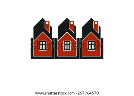 Simple cottages illustration, country houses, for use in graphic design. Real estate concept, region or district theme. - stock photo