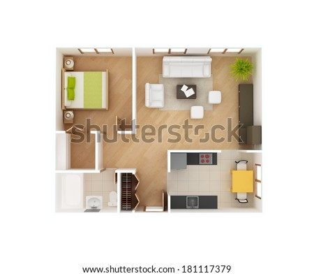 Simple 3D Floor Plan Of A House Top View. 1 Bedroom 1 Bath. May
