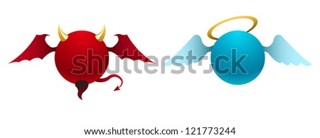 Simple devil and angel icons - stock photo