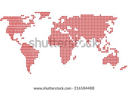 Simple digital world map of dots - stock photo