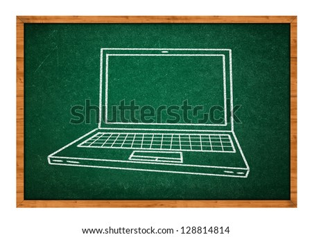 Simple drawing of laptop or notebook computer on a green school chalkboard. - stock photo