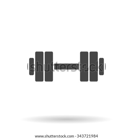 Simple Dumbbell. Flat icon on grey background with shadow - stock photo