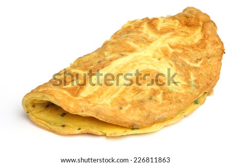 Simple egg omelette with herbs on white background.