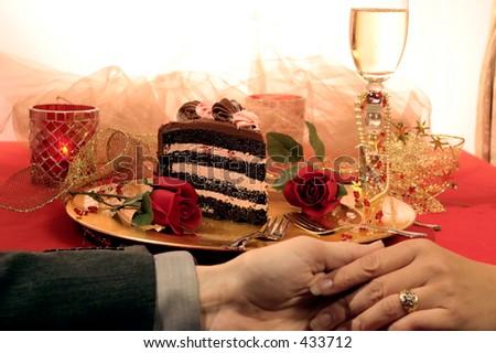 Simple,elegant,and romantic.  Nothings says I love you like Chocolate cake. - stock photo