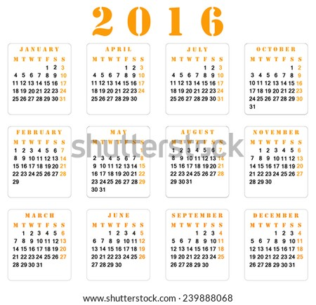 Simple european square 2016 year vector calendar. Week starts from Monday. - stock photo