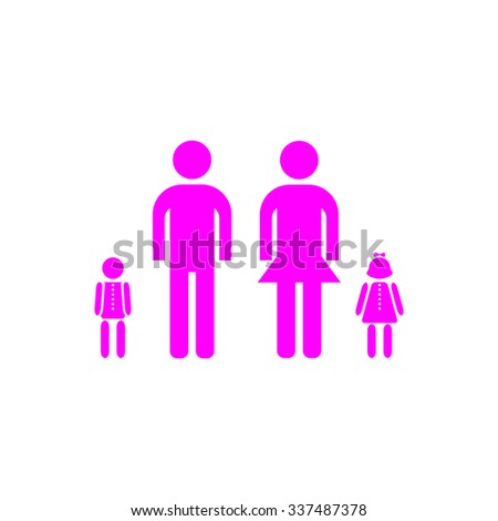 Simple family. Pink icon on white background. Flat pictograph