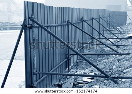 Simple fence, in the construction site  - stock photo