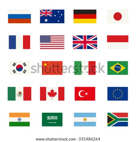 Simple flags icons of the countries in flat style. Raster version. - stock photo