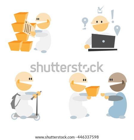 Simple flat design cartoon people set illustration. Internet shop team work concept image. Can be use for infographics elements.