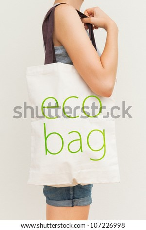 Simple flax eco bag - stock photo