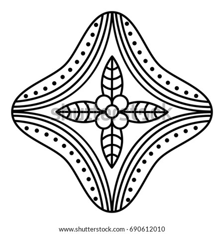 simple floral mandala pattern stock illustration 690612010 shutterstock. Black Bedroom Furniture Sets. Home Design Ideas