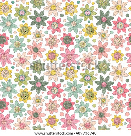 Simple floral pattern, seamless  background. Delicate pink blue green on white background. Baby cute pattern.