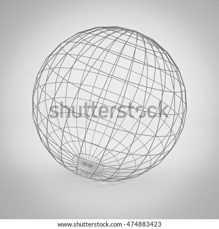 Simple globe earth wireframe over gray background with shadow. 3D rendering.