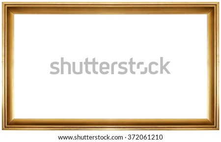 Simple Golden Frame Isolated on White Background - stock photo