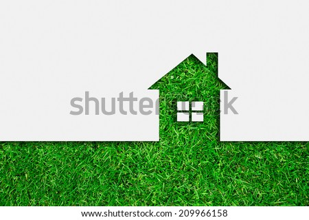 Simple green eco house icon - stock photo