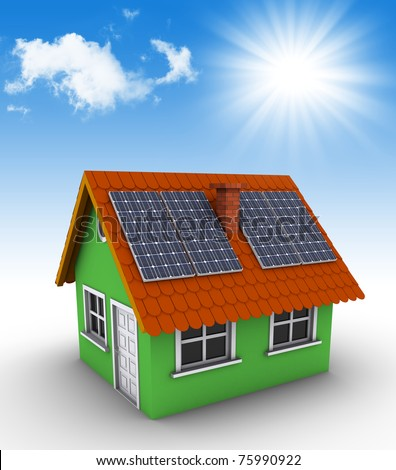 Simple green house with solar panels on the roof. 3d rendered house and photographic sky