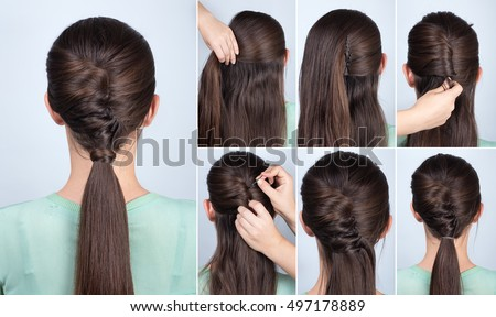 Simple Hair Style Simple Hairstyle Ponytail Twist Hair Tutorial Stock Photo .