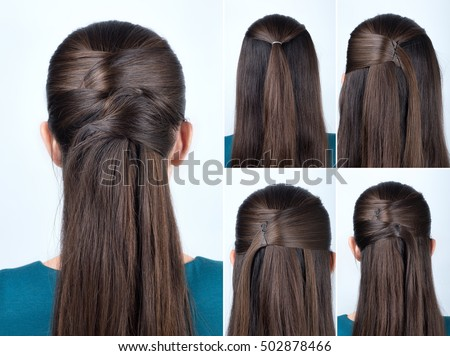 Hair Style Step By Step Brilliant Simple Halfup Hairstyle Pins Tutorial Step Stock Photo 502878466 .