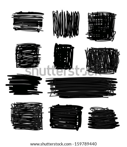 simple hand drawn squares - stock photo