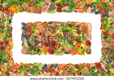 Simple healthy fresh food - fruits,  vegetables, pastries and meat frame and banner. Abstract isolated  handmade collages - stock photo