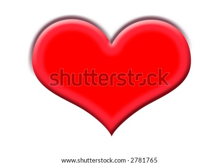 Simple heart on a white background with clipping path. - stock photo